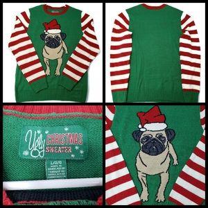 Womans Pug Christmas Sweater, size L, excellent co